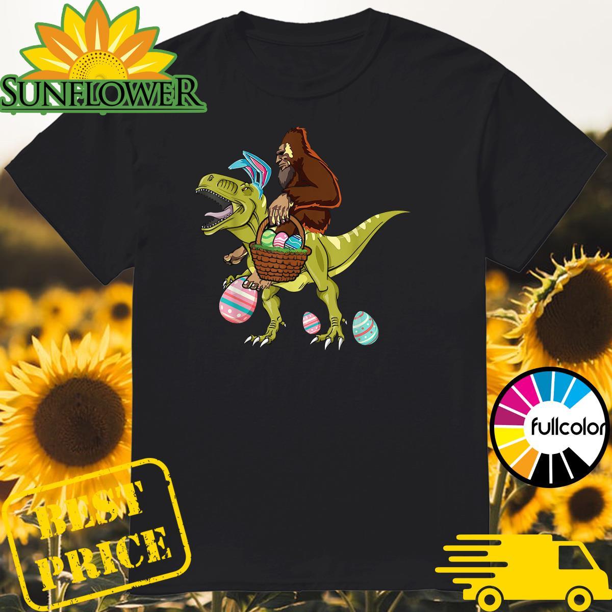 Bigfoot Ride Dinosaur Happy Easter Eggs Shirt