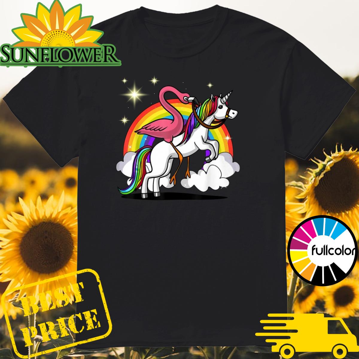 Official Flamingo Bird Riding Unicorn Magical Rainbow Shirt