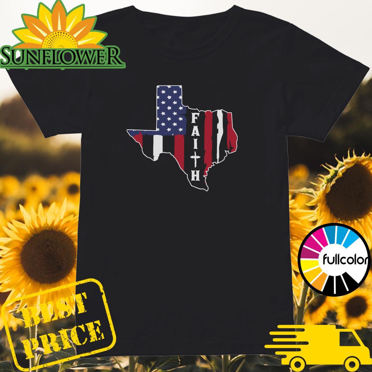 Texas American Flag Jesus Faith Shirt Ladies