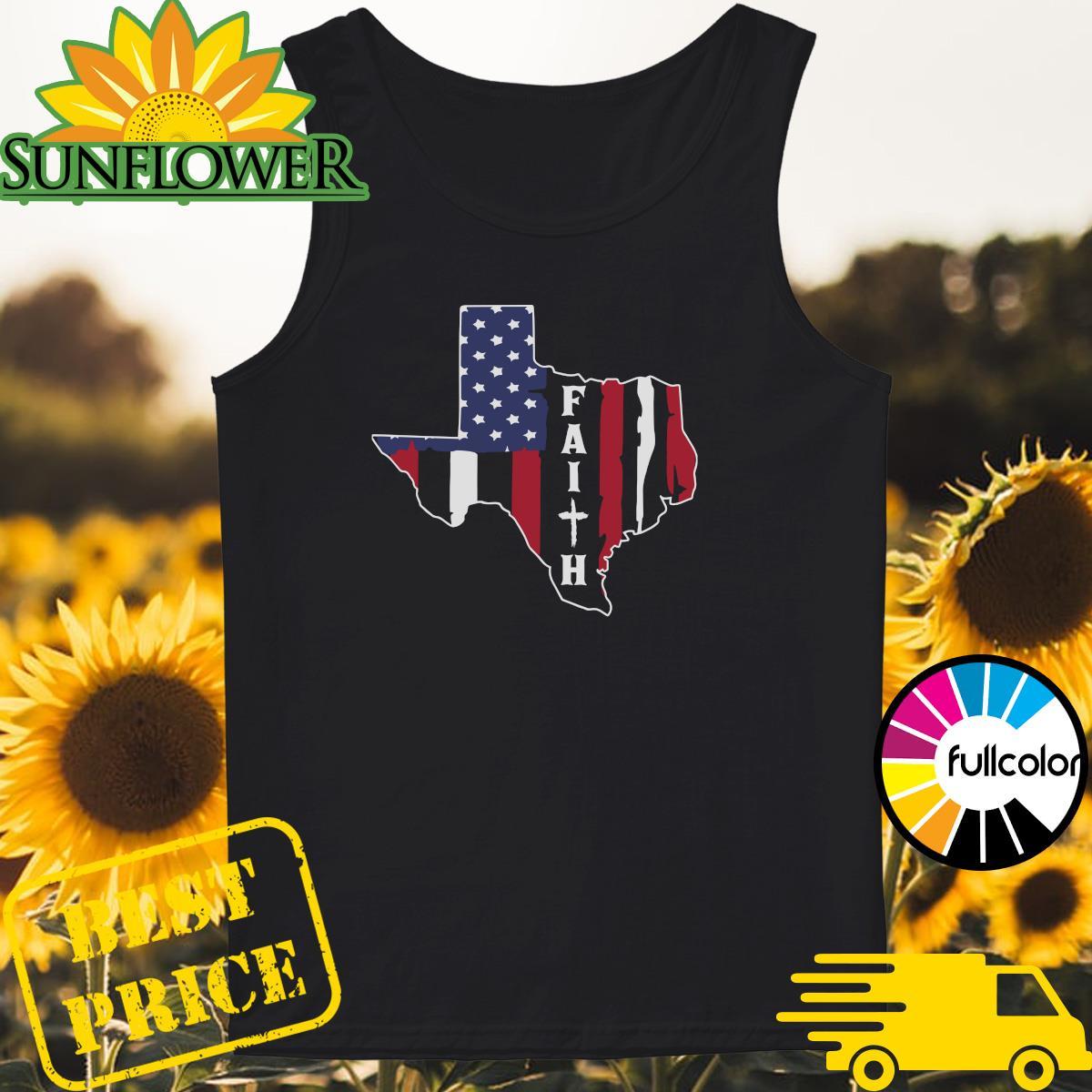 Texas American Flag Jesus Faith Shirt Tank-top