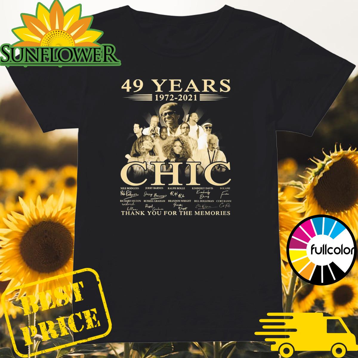 49 Years 1972 2021 Of The CHIC Signatures Thank You For The Memories Shirt Ladies