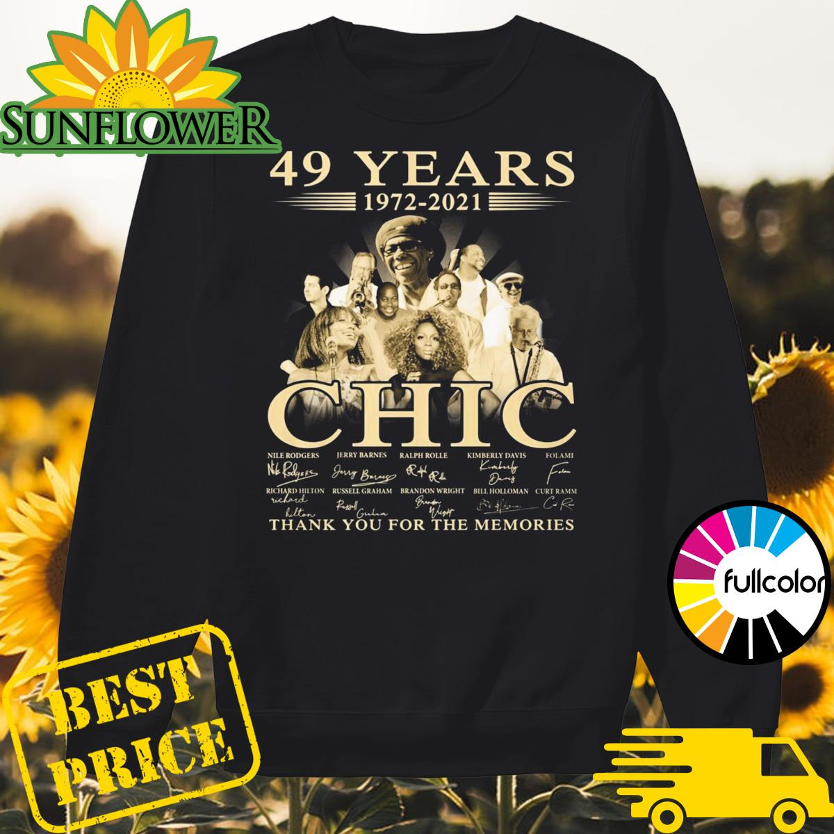 49 Years 1972 2021 Of The CHIC Signatures Thank You For The Memories Shirt Sweater