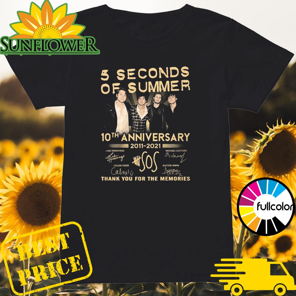 5 Seconds Of Summer 10th Anniversary 2011 2021 Signatures Thank You For The Memories Shirt Ladies