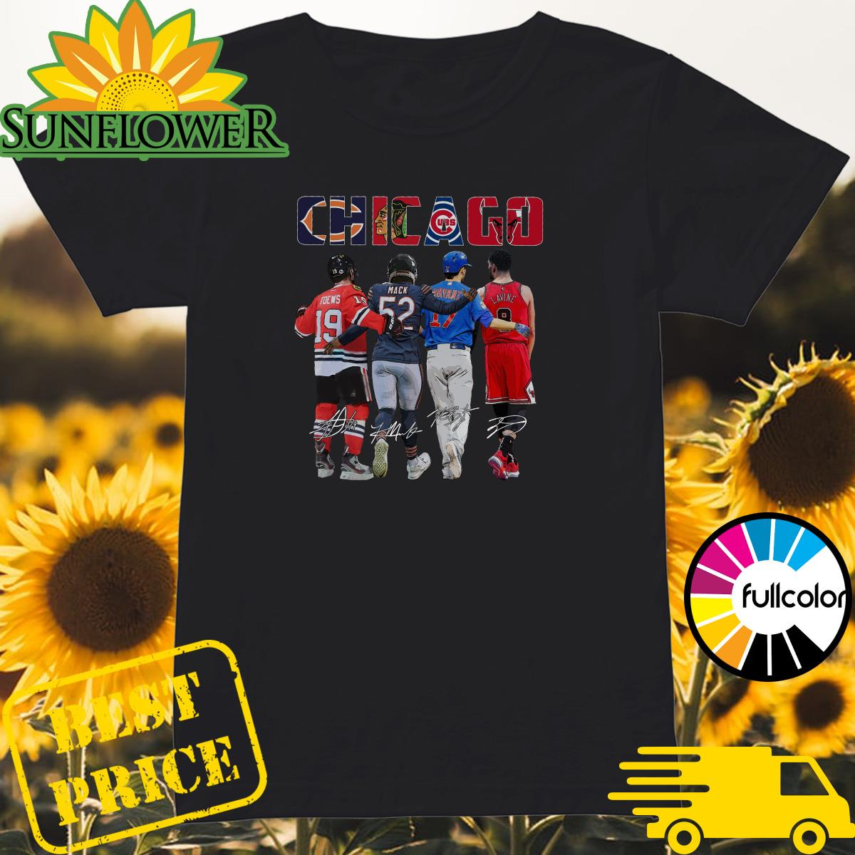 Chicago Sports Team Signatures With Chicago Bears, Chicago Blackhawks, Chicago Cubs, Chicago Bulls Shirt Ladies
