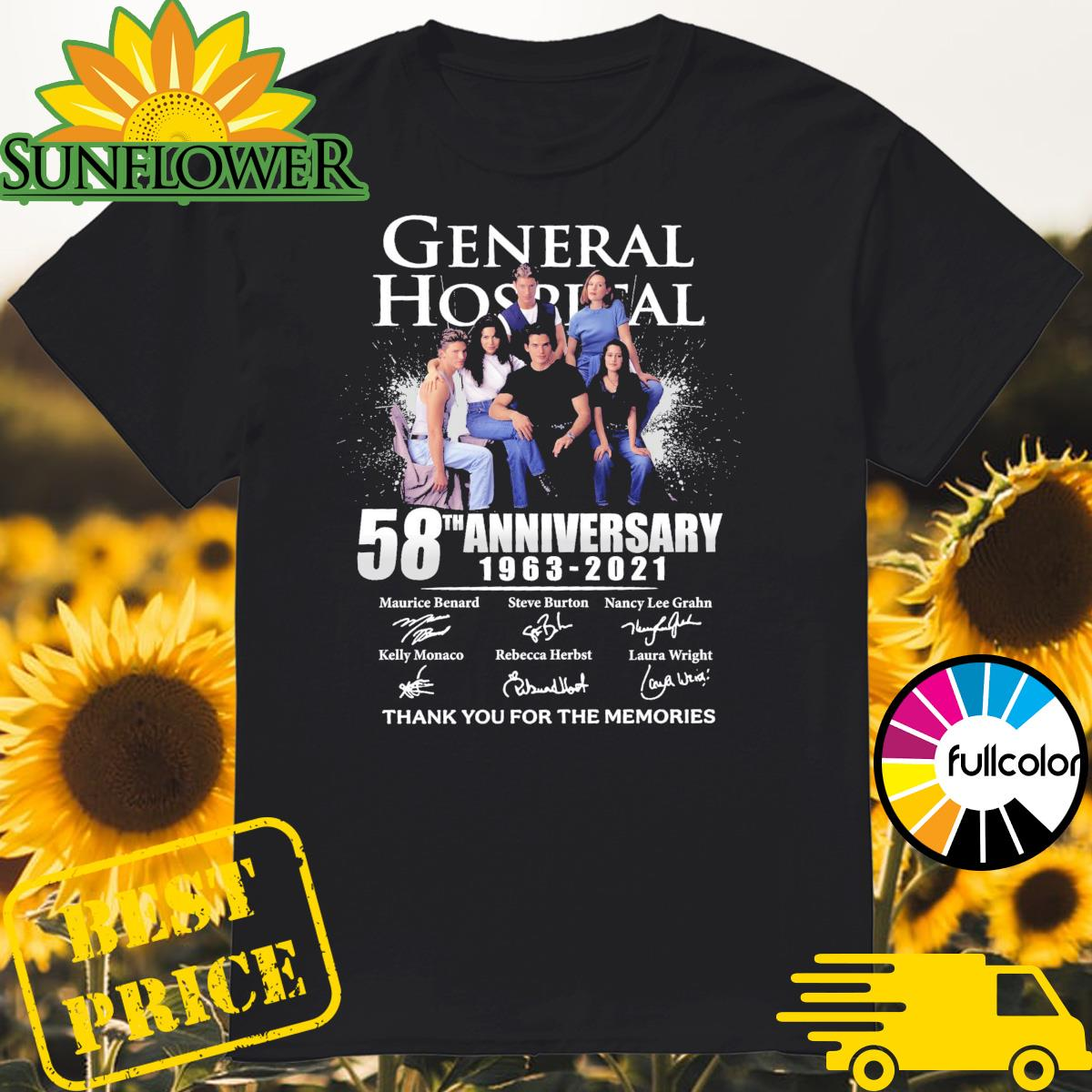 General Hospital 58th Anniversary 1963 2021 Signatures Thank You For The Memories Shirt