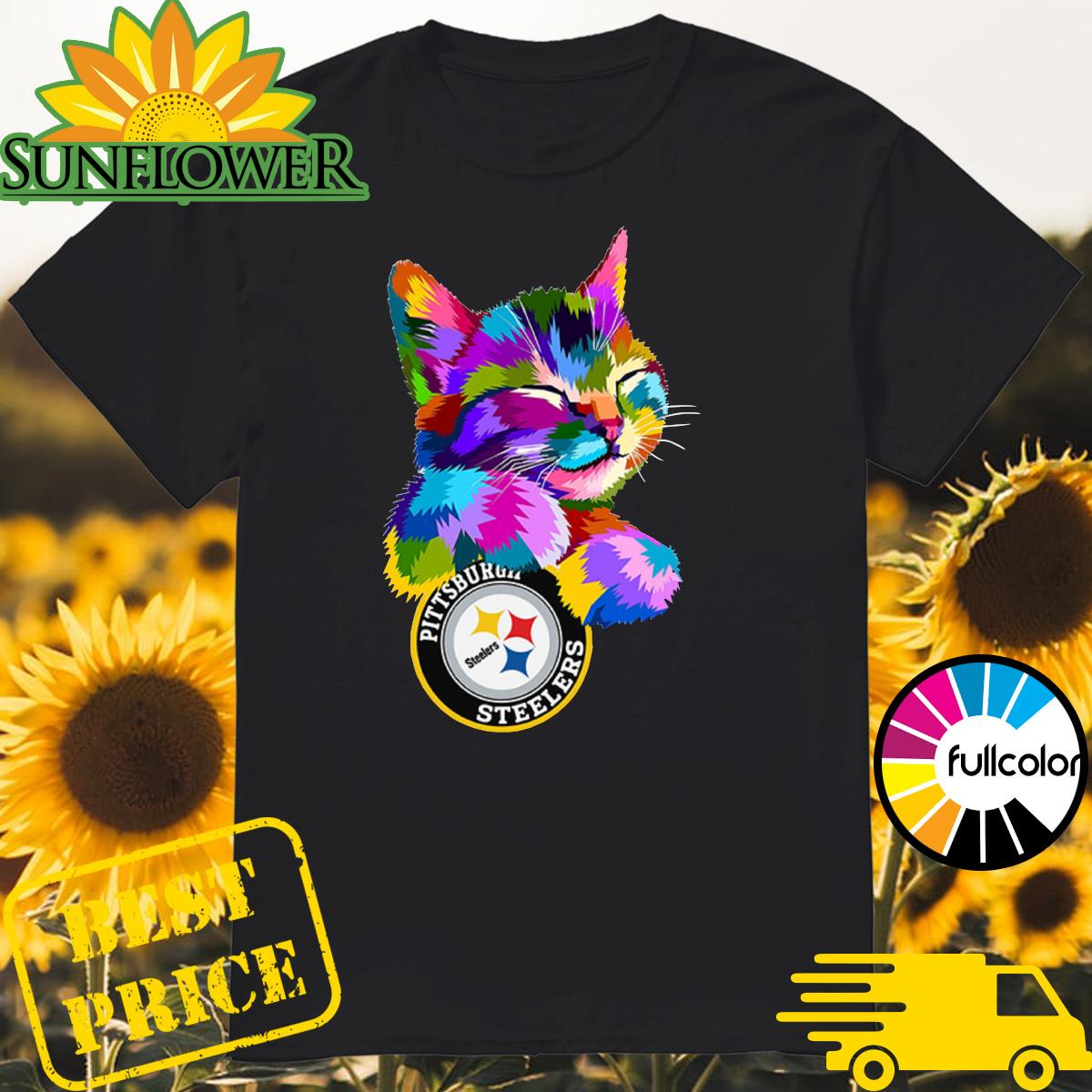 Official Aloha Cat Hug Pittsburgh Steelers Logo Shirt