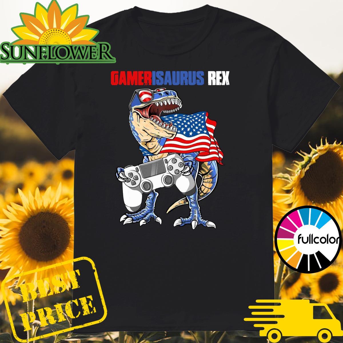 Official Dinosaur Gamer Is Saurus Rex American Flag Shirt