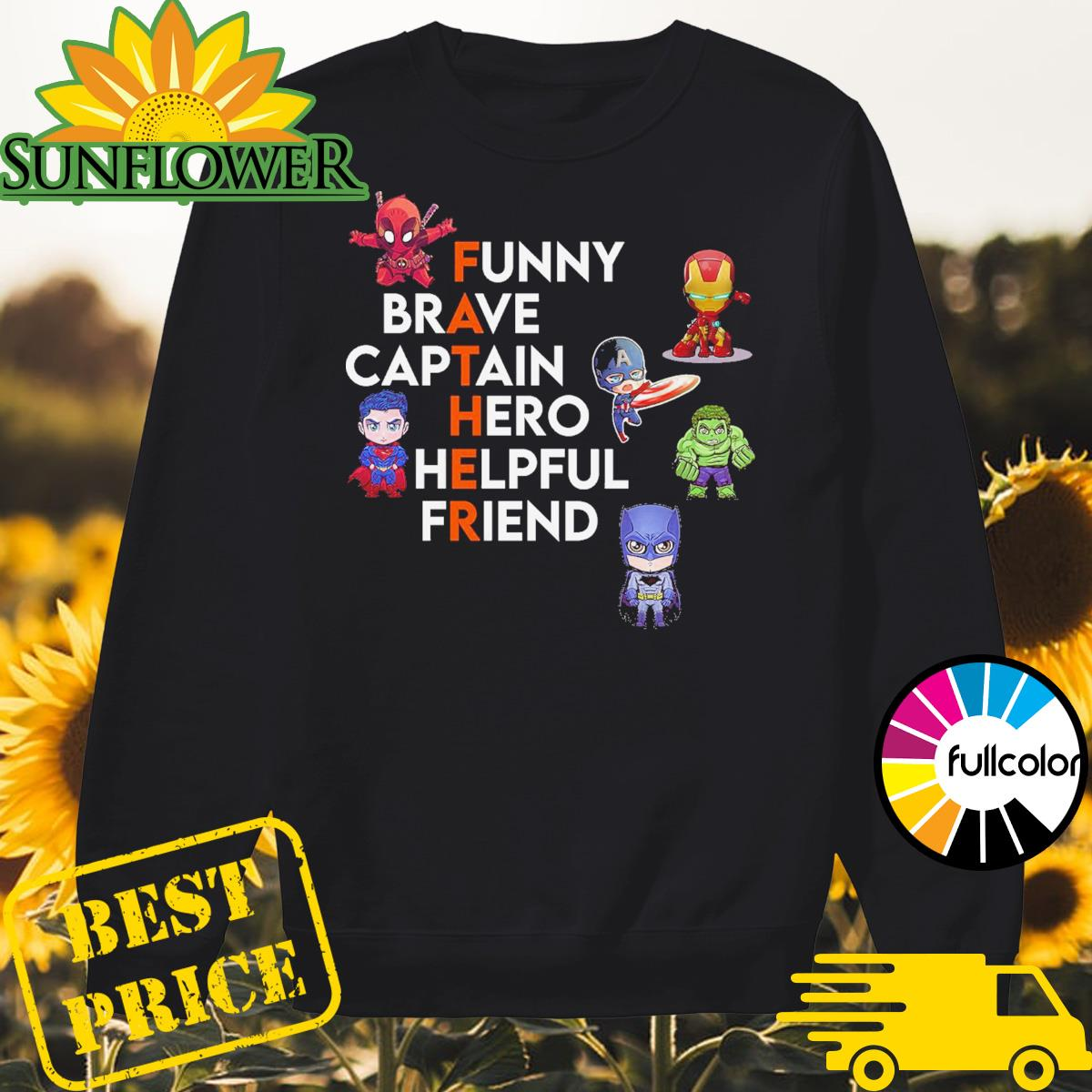 Father Superheroes Funny Brave Captain Hero Helpful Friend Sweater
